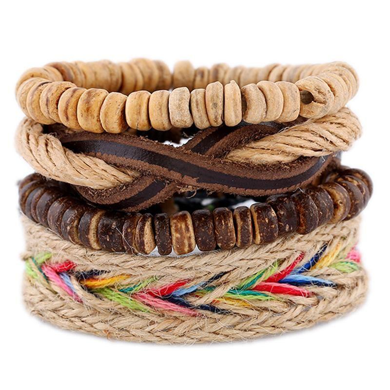 Nueva pulsera de cuero de capa superior tejida a mano vintage pulsera de cuero de múltiples capas joyería NHPK184595