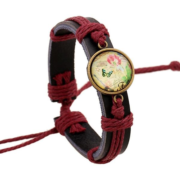 Joyas New Time Gem Bracelet Jewelry Woven Leather Bracelet Pulsera de cuero de vaca NHPK184597