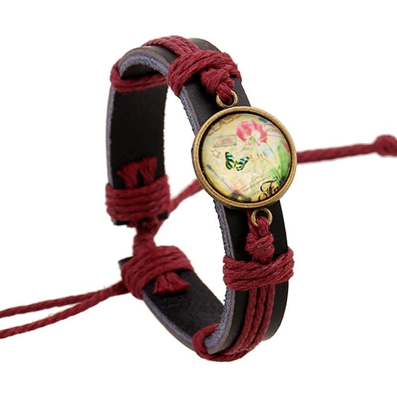 Joyas New Time Gem Bracelet Jewelry Woven Leather Bracelet Pulsera de cuero de vaca NHPK184597