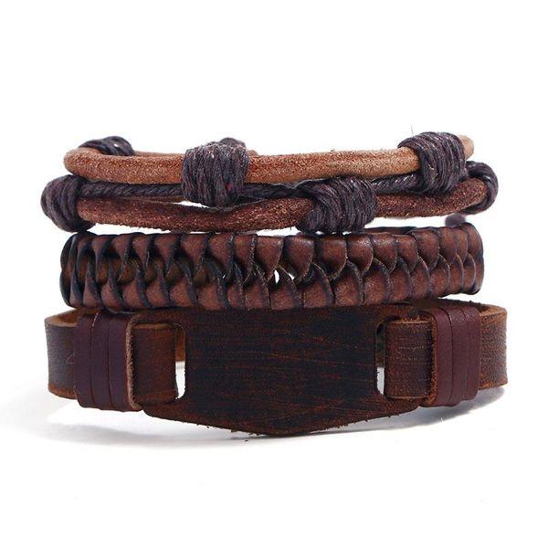 New three-piece real leather bracelet simple diy suit men's knitted bracelet jewelry wholesale NHPK184604