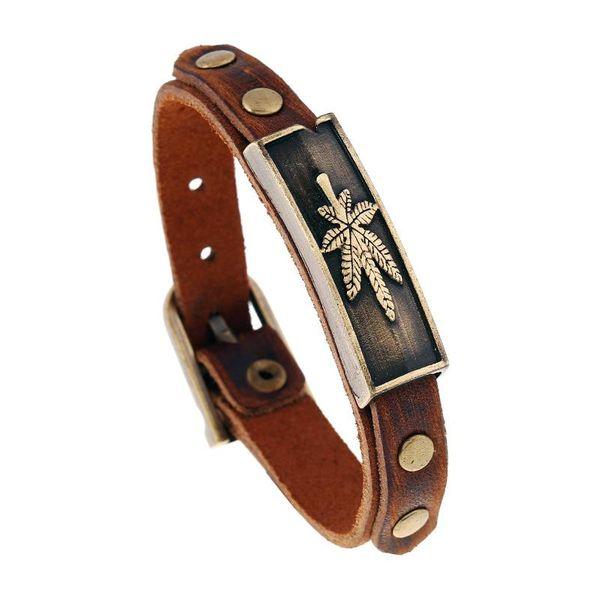 Pulsera de cuero de hoja de arce de aleación vintage pulsera de cuero al por mayor ajustable NHPK184609