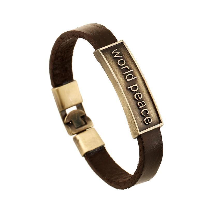 world peace popular vintage leather jewelry wholesale leather bracelet NHPK184610