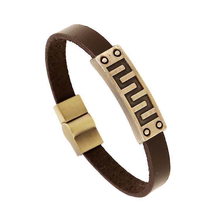 Geometric line alloy bracelet jewelry mixed batch retro bracelet leather bracelet NHPK184611