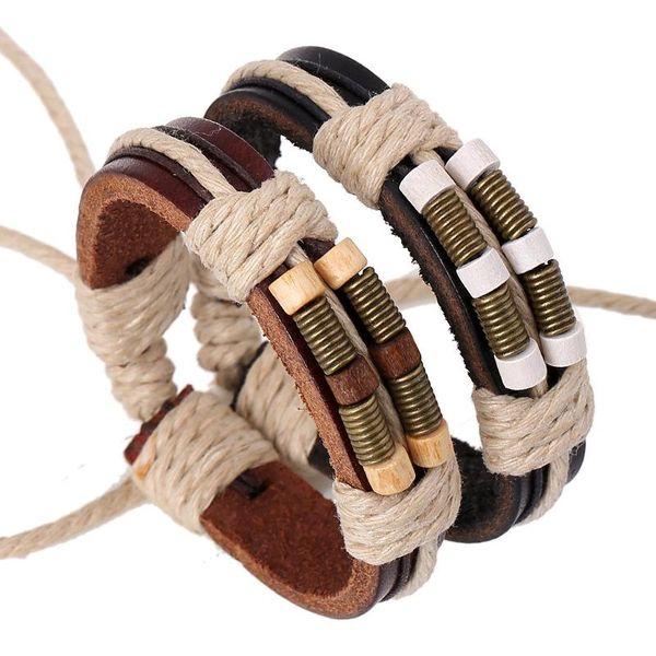 New style leather bracelet bronze spring wood beads leather bracelet wholesale woven bracelet retro bracelet NHPK184612