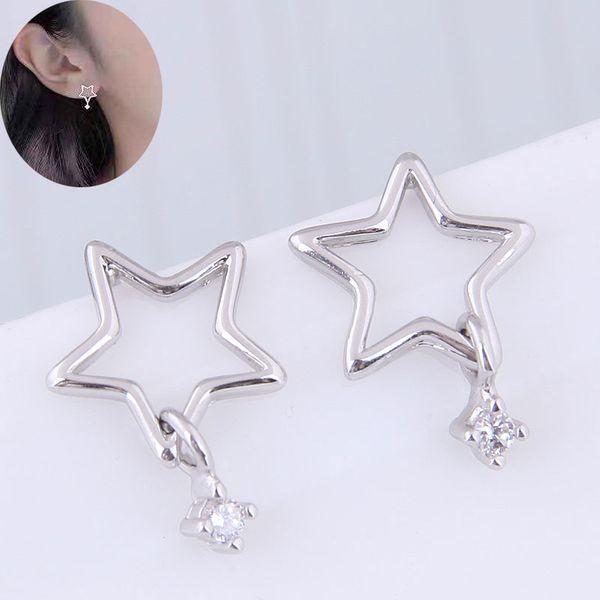 Copper-plated real gold earrings Korean fashion sweet pentagram personality earrings NHSC184444