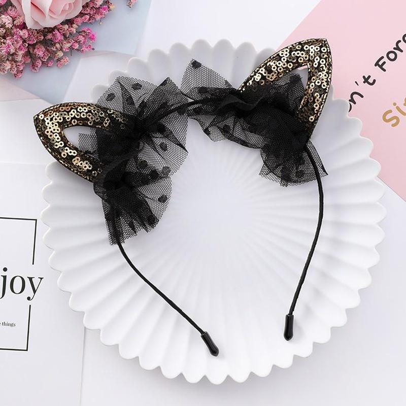 Accesorios para el cabello para niños Diadema de oreja de gato con lentejuelas Accesorios para el vestido de la pequeña princesa coreana para niños NHTY184307