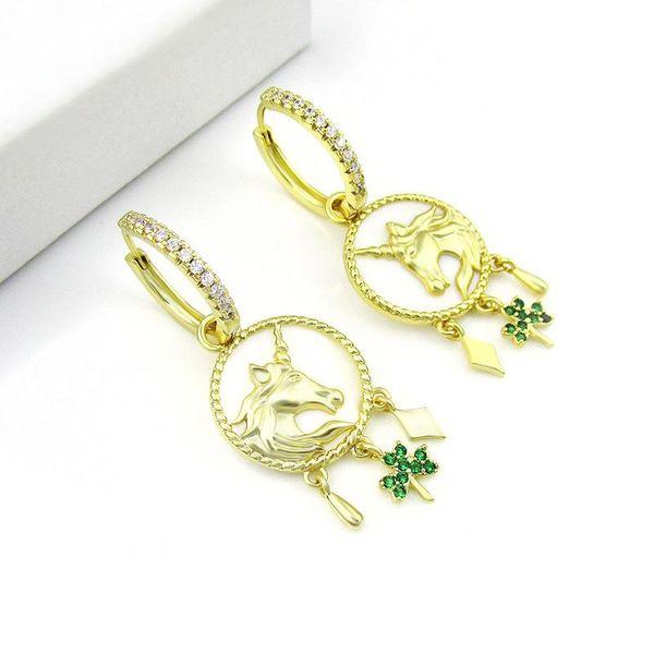 The same cute childlike unicorn earrings female earrings shell earrings gifts wholesale NHLJ184553