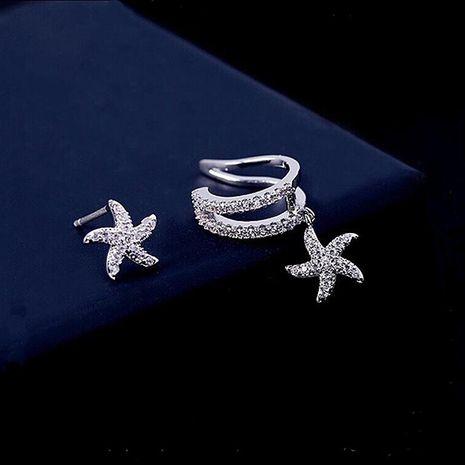 Aretes con clip de oreja asimétrica Starfish para mujer NHLJ184570's discount tags