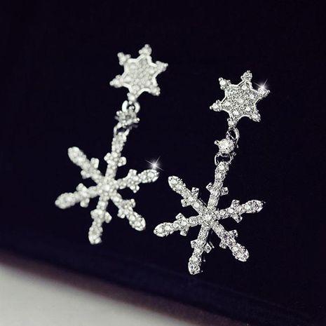 925 aretes de plata de ley con copo de nieve coreano pendientes de circonita NHLJ184575's discount tags