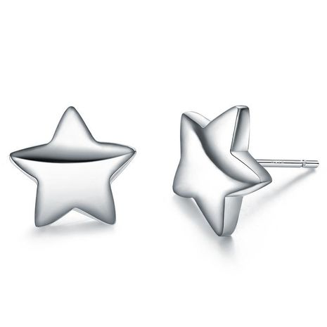 Fashion Simple Pentagram Sterling Silver Earrings Korean Girls Silver Jewelry Wholesale NHLJ184579's discount tags