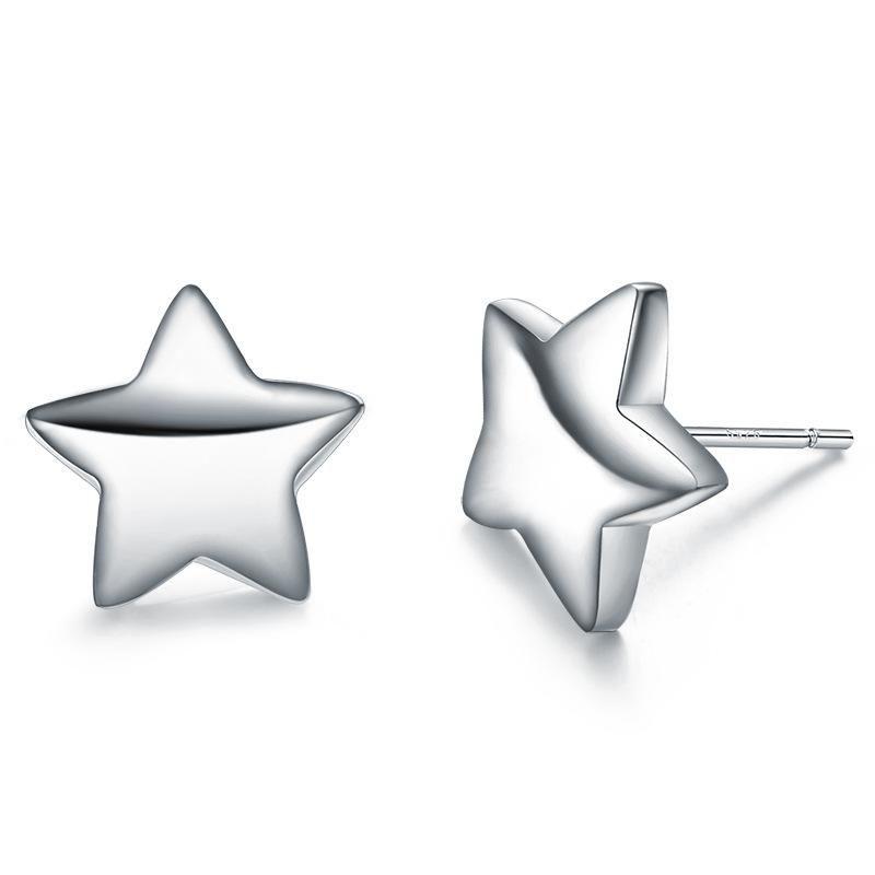 Fashion Simple Pentagram Sterling Silver Earrings Korean Girls Silver Jewelry Wholesale NHLJ184579