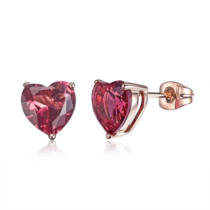 Korean version of the new red zircon love earrings female simple temperament alloy earrings wholesale NHLJ184582