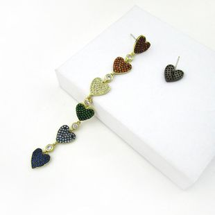 European and American new full diamond asymmetric ab color diamond long earrings women NHLJ184584's discount tags