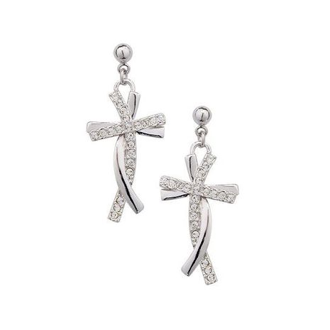 New Delicate Diamond Cross Pendant Earrings whoelsales fashion NHLJ184581's discount tags