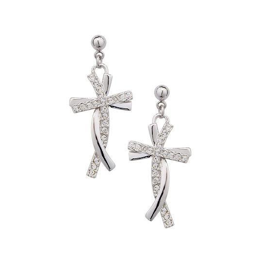 New Delicate Diamond Cross Pendant Earrings whoelsales fashion NHLJ184581