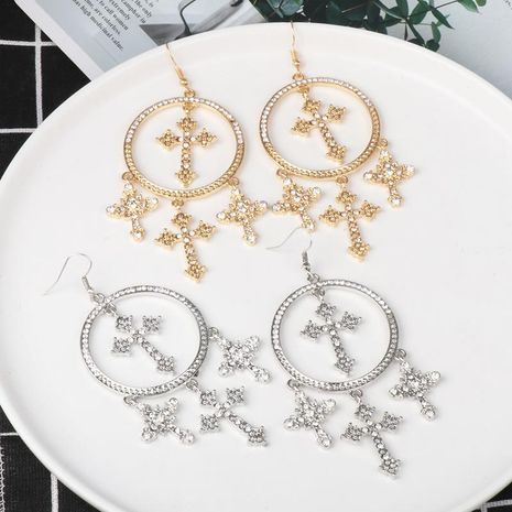 Jewelry alloy simple cross earrings circle earrings cross earrings NHJJ184692's discount tags