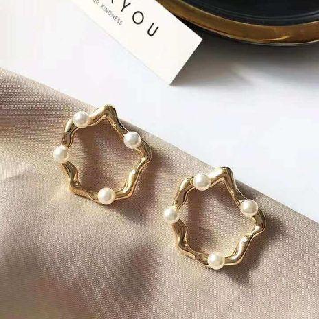 Pendientes de perlas huecas de oro geométrico coreano Pendientes de cobre vintage NHGO184700's discount tags