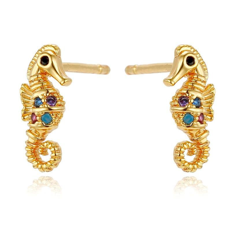 Mini Gold Zircon Sea Horse Shell Stud Earrings NHGO184703
