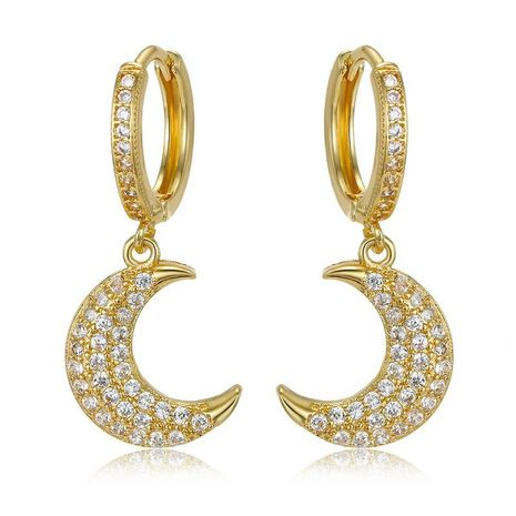 Exquisite mini earrings gold and silver crescent zircon earrings NHGO184704's discount tags