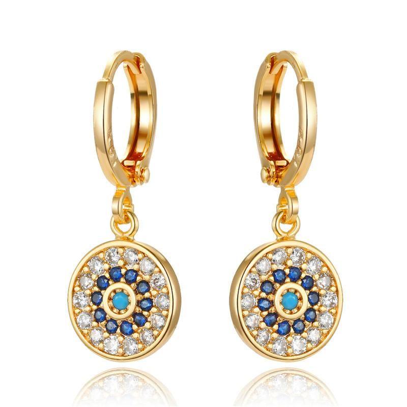 New retro mini earrings round colored zircon earrings NHGO184708