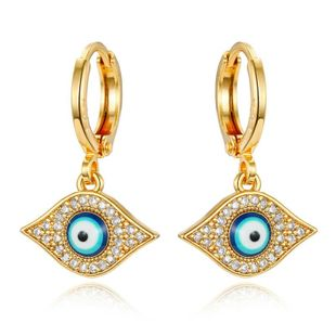Vintage Turkish Evil Eye Earrings Mini Small Hoop Zircon Earrings NHGO184709's discount tags