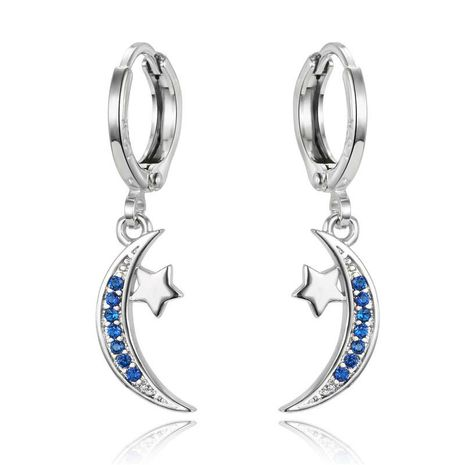 New mini silver earrings small crescent zircon earrings NHGO184712's discount tags