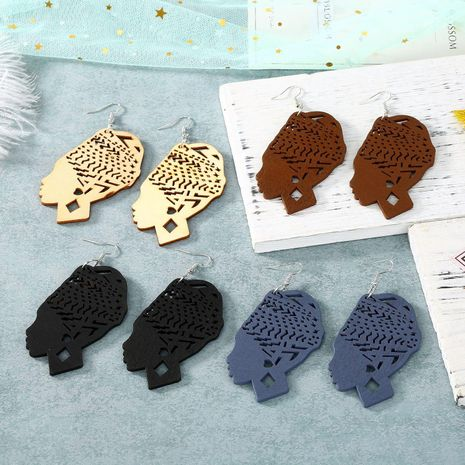 Carved hollow head wood large earrings wholesales fashion NHGO184716's discount tags
