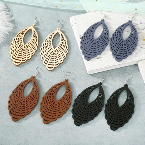 Exaggerated carved hollow wood geometric big earrings earrings retro ear hooks NHGO184717's discount tags