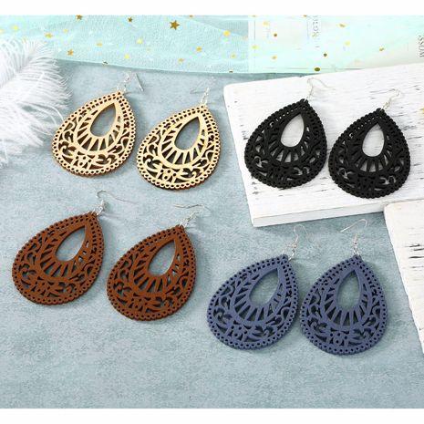 Vintage ear hook carved hollow wood big water drop earrings NHGO184718's discount tags