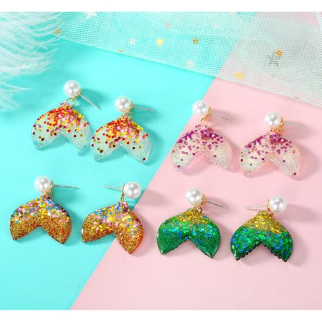New Resin Sequin Fish Tail Earrings Vintage Pearl Stud Earrings wholesales fashion NHGO184720's discount tags