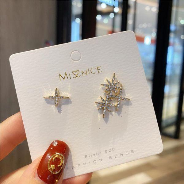 Personalized flash diamond star earrings wild female simple asymmetric earrings for women NHMS184485