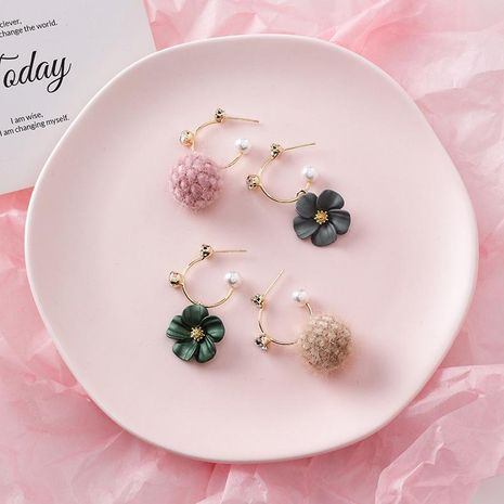 925 silver autumn and winter new short pearl earrings flower plush ball earrings NHMS184486's discount tags