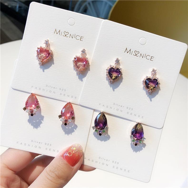 925 Silver Pin Korean New Gradient Crystal Love Earrings wholesales fashion NHMS184466