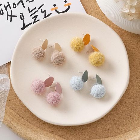 Wool ball stud earrings sweet cute frosted round girl pompom earrings NHMS184481's discount tags