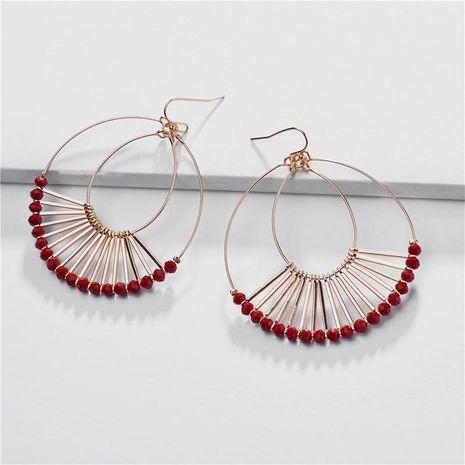 Aretes para mujer de la joyería alambre de cobre doble gota de cristal cuentas de cristal pendientes en forma de abanico NHLU184624's discount tags