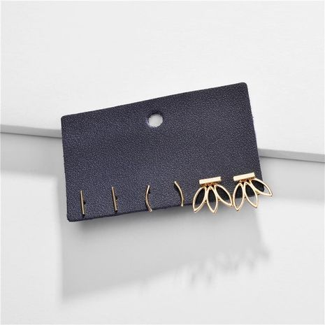 Jewelry earrings copper branch sticks hollow leaves female earrings three pairs set NHLU184625's discount tags