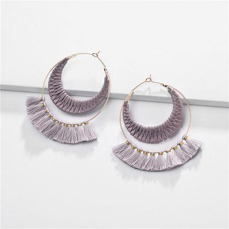 Aretes para mujer de cobre con borlas de seda de terciopelo coreano Pendientes de doble festón NHLU184626's discount tags