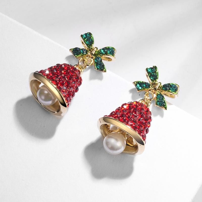 Bow wind chimes earrings pearl earrings simple NHLJ184544