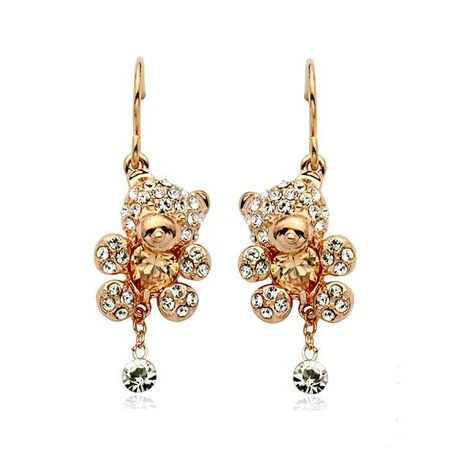 Aretes para mujer de niña linda de temperamento pendientes de oso de diamantes completos exquisitos pendientes de cristal NHLJ184588's discount tags