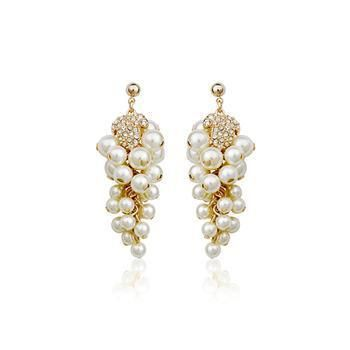 Luxury Diamond and Pearl Grape Strand Earrings wholesales fashion NHLJ184593's discount tags