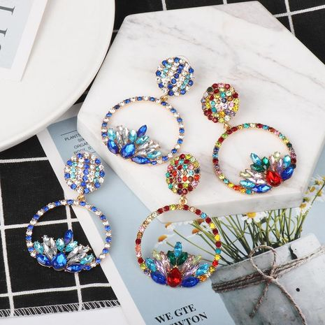New simple colorful diamond earrings boutique elegant women's jewelry wholesale NHJJ184693's discount tags
