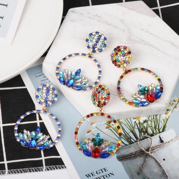 New simple colorful diamond earrings boutique elegant women's jewelry wholesale NHJJ184693