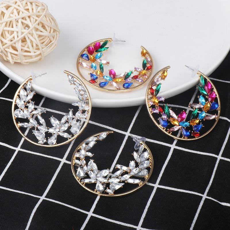 Earrings Hot Fashion Creative Geometric Earrings Female Temperament Diamond C-shaped Stud Earrings NHJJ184696