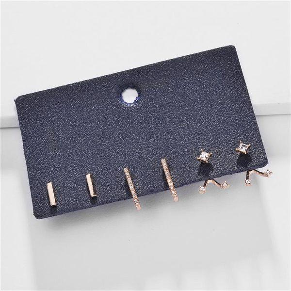 Joyas aretes para mujer aleación gema diamante palos dos capas tres pares NHLU184631