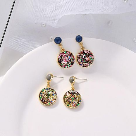 Sweet smiley earrings fashion geometric colorful round 925 silver pin earrings NHQD184670's discount tags