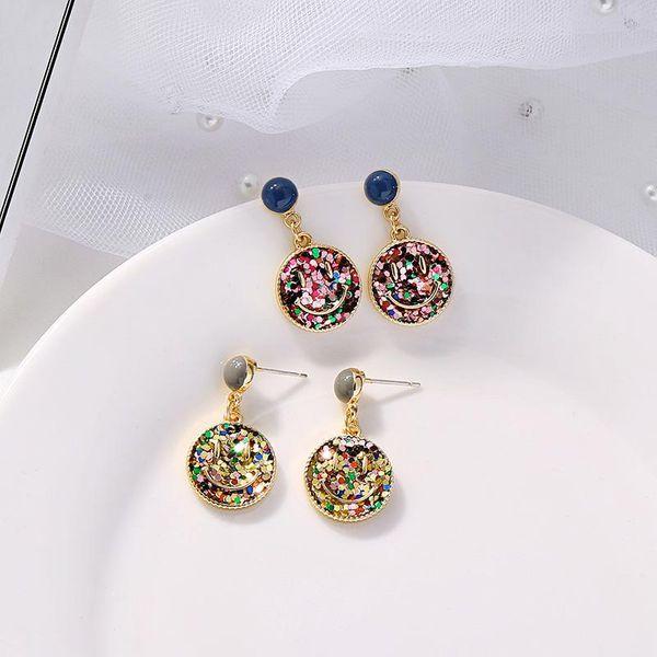 Pendientes smiley dulce moda geométrica colorida ronda 925 pendientes de plata NHQD184670