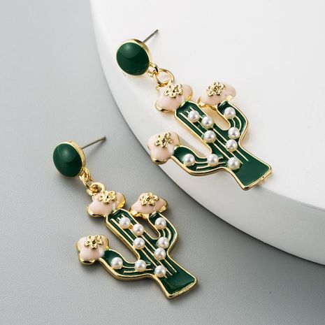 Color drip oil pearl alloy earrings creative cactus earrings for women NHLN184455's discount tags