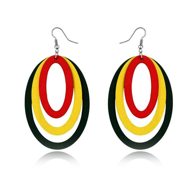 Jewelry New Exaggerated Oval Hollow Multilayer Earrings Earrings Retro  NHGO184723