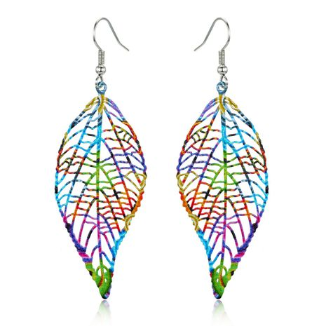 New retro ear hook geometric color hollow carved leaf earrings NHGO184714's discount tags