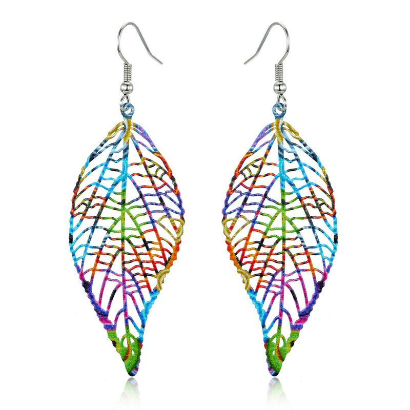 New retro ear hook geometric color hollow carved leaf earrings NHGO184714